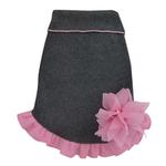 View Image 1 of Gray Pullover Dog Dress with Pink Flower