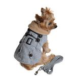 View Image 2 of Grey Herringbone Dog Coat with Leash by Doggie Design