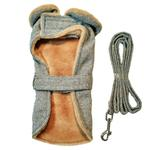 View Image 3 of Grey Herringbone Dog Coat with Leash by Doggie Design
