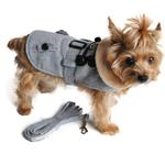 View Image 1 of Grey Herringbone Dog Coat with Leash by Doggie Design