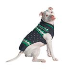 View Image 1 of Handmade Alpine Fair Isle Wool Dog Sweater - Navy and Green
