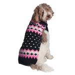 View Image 1 of Handmade Alpine Fair Isle Wool Dog Sweater - Navy and Pink
