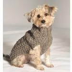 View Image 4 of Handmade Cable Knit Wool Dog Sweater - Gray