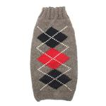 View Image 1 of Handmade Classic Argyle Wool Dog Sweater - Gray