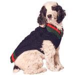 View Image 1 of Handmade Varsity Wool Dog Sweater - Navy