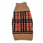 View Image 1 of Handmade Wool Plaid Dog Sweater - Tan