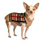 View Image 3 of Handmade Wool Plaid Dog Sweater - Tan