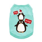 View Image 1 of Happy Holidays Penguins Dog Tank - Teal