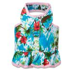 View Image 1 of Hawaiian Flower Dress Harness by Doggles - Pink Trim