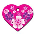 View Image 1 of Hawaiian Heart Large Engravable Pet I.D. Tag - Pink