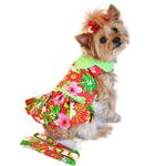 View Image 1 of Red Hawaiian Hibiscus Designer Dog Harness Dress by Doggie Design
