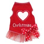 View Image 1 of Heart Love Christmas Dog Dress - Red