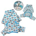 View Image 2 of Hearts Turtleneck Fleece Dog Pajamas by Klippo - Blue and Gray