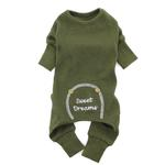 View Image 1 of Sweet Dreams Thermal Dog Pajamas by Doggie Design - Herb Green