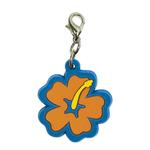 View Image 1 of Hibiscus Soft Rubber Dog Collar Charm - Orange/Blue