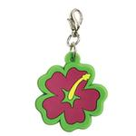 View Image 1 of Hibiscus Soft Rubber Dog Collar Charm - Pink/Green