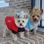 View Image 2 of Highline Fleece Dog Coat by Doggie Design - Teal and Gray