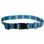 View Image 1 of Highland Plaid Dog Collar by Yellow Dog - Blue