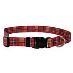 View Image 1 of Highland Plaid Dog Collar by Yellow Dog - Red