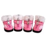 View Image 1 of Hiker Dog Boots with Faux Fur Trim - Pink