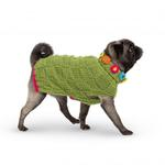 View Image 3 of Hand Knit Dog Sweater by Up Country - Green Floral Basketweave