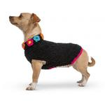 View Image 3 of Hand Knit Dog Sweater by Up Country - Black Floral Basketweave