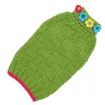 View Image 1 of Hand Knit Dog Sweater by Up Country - Green Floral Basketweave