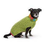 View Image 2 of Hand Knit Dog Sweater by Up Country - Green Floral Basketweave