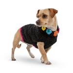 View Image 2 of Hand Knit Dog Sweater by Up Country - Black Floral Basketweave