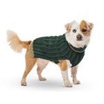 View Image 2 of Hand Knit Dog Sweater by Up Country - Forest Classic Cable