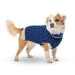 View Image 2 of Hand Knit Dog Sweater by Up Country - Navy Classic Cable