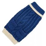 View Image 1 of Hand Knit Dog Sweater by Up Country - Navy Classic Cable