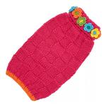 View Image 1 of Hand Knit Dog Sweater by Up Country - Pink Floral Basketweave