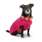 View Image 2 of Hand Knit Dog Sweater by Up Country - Pink Floral Basketweave