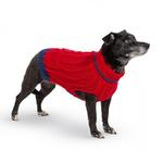 View Image 2 of Hand Knit Dog Sweater by Up Country - Red Classic Cable