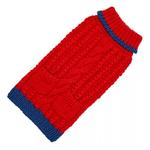 View Image 1 of Hand Knit Dog Sweater by Up Country - Red Classic Cable
