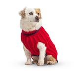 View Image 3 of Hand Knit Dog Sweater by Up Country - Red Classic Cable