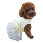 View Image 1 of Hollywood Hologram Sequin Fufu Tutu Dog Dress - Ivory