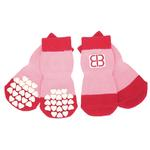View Image 1 of Home Comfort Traction Control Dog Socks - Pink & Red