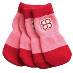 View Image 3 of Home Comfort Traction Control Dog Socks - Pink & Red