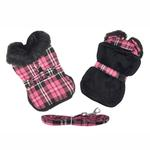 View Image 1 of Plaid Fur-Trimmed Dog Harness Coat by Doggie Design - Hot Pink and Black