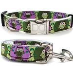 View Image 1 of H'Owl Grape and Avocado Dog Collar and Leash Set by Diva Dog