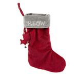 View Image 1 of HuggleHounds Holiday Cat Stocking - Meow on Gray Cuff