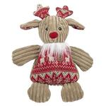 View Image 1 of HuggleHounds Holiday Chubbie Buddie Plush Dog Toy - Reindeer with Sweater