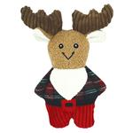 View Image 1 of HuggleHounds Holiday Corduroy Cookie Shaped Dog Toy - Flannel Shirt Moose