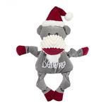 View Image 1 of HuggleHounds Holiday Knottie Dog Toy - Believe Sock Monkey