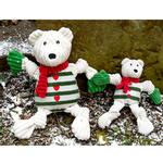 View Image 2 of HuggleHounds Holiday Knotties Dog Toy - Polar Bear with Striped Sweater
