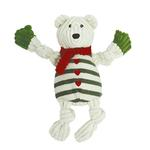 View Image 1 of HuggleHounds Holiday Knotties Dog Toy - Polar Bear with Striped Sweater