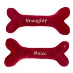 View Image 1 of HuggleHounds Holiday #Naughty #Nice Bone Dog Toy