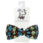 View Image 1 of Huxley & Kent Dog Bow Tie Collar Attachment - Teal Argyle